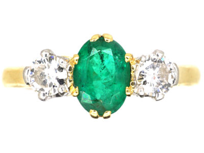 18ct Gold, Emerald & Diamond Three Stone Ring