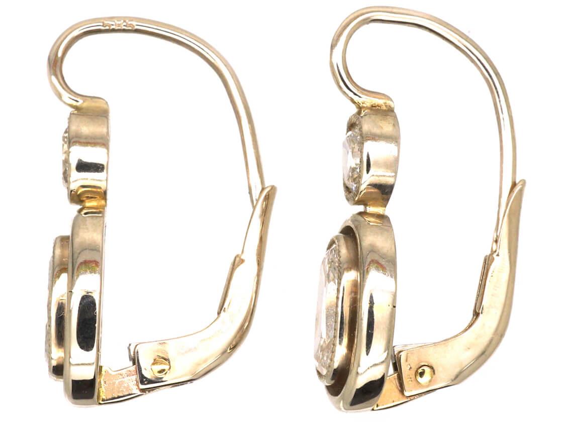 Art Deco 14ct White Gold, Two Stone Diamond Oval Drop Earrings