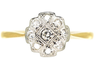 Art Deco 18ct Gold & Platinum, Diamond Criss Cross Design Cluster Ring