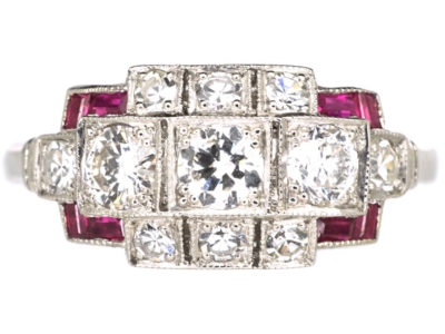 Art Deco Platinum, Ruby & Diamond Geometric Design Ring