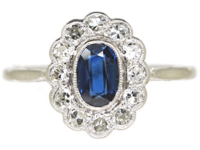 Edwardian Platinum, Sapphire & Diamond Oval Cluster Ring