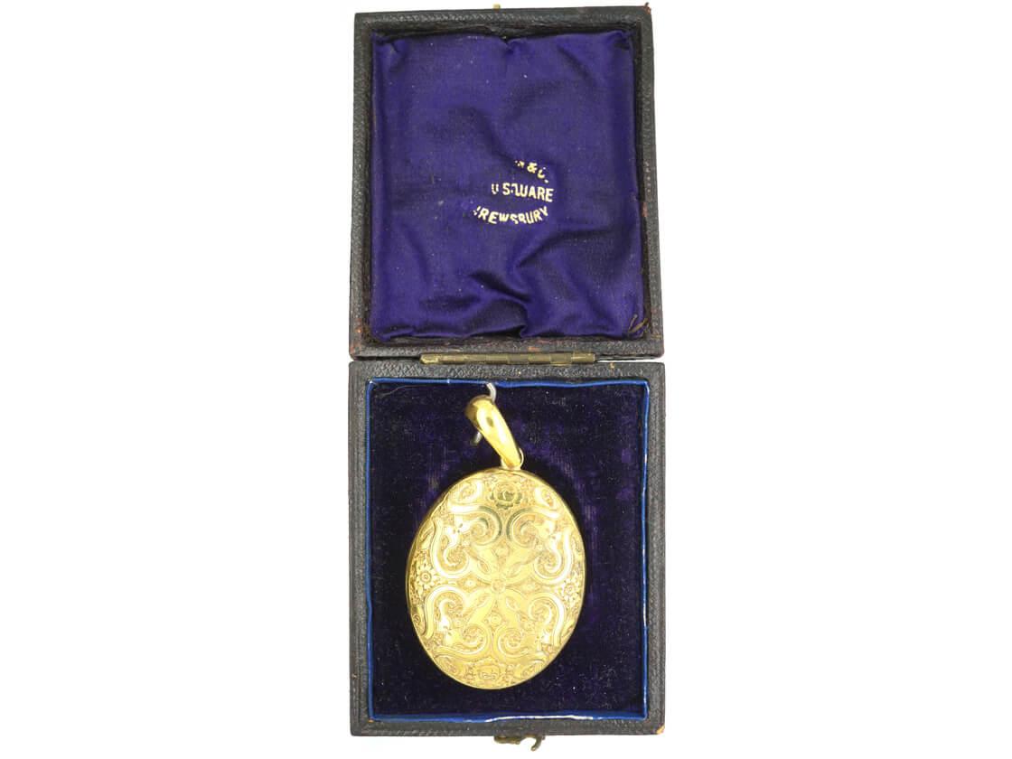 Victorian 18ct Gold Oval Locket in Original Case