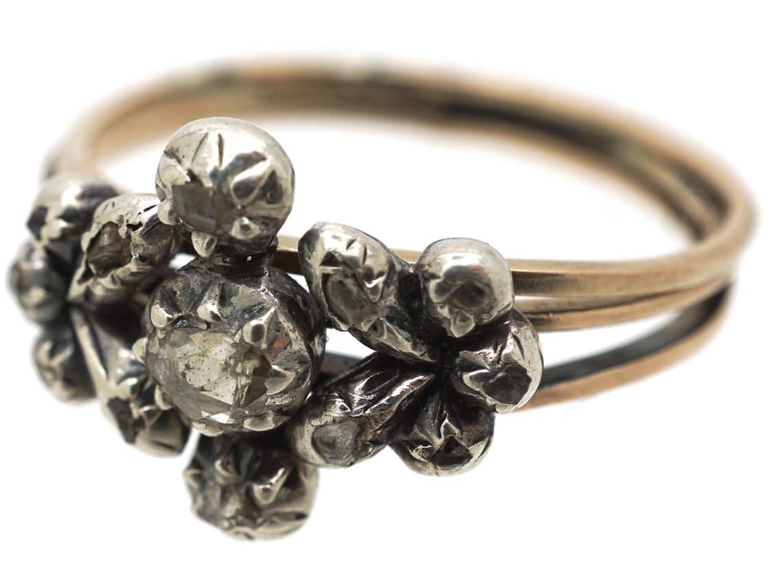 Georgian Triple Band Rose Diamond Opening Ring