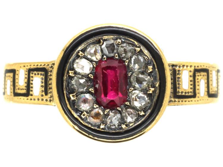 Victorian 18ct Gold, Rose Diamond & Black & White Enamel Ring