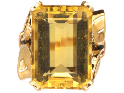 Retro 18ct Gold & Large Rectangular Citrine Ring