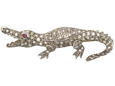 Rose Diamond & Ruby Alligator Brooch