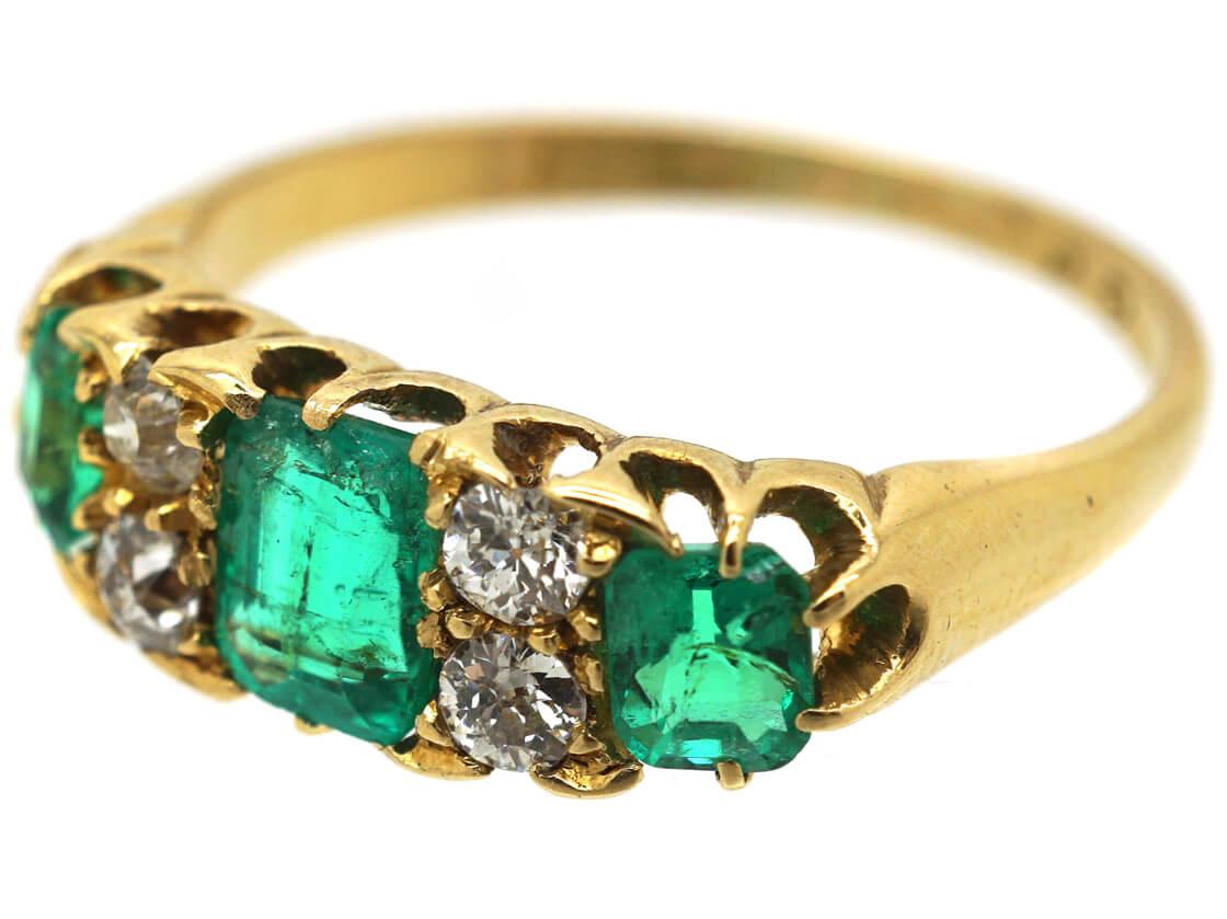 Victorian 18ct Gold, Three Stone Emerald & Diamond Ring
