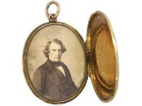 Victorian 18ct Gold & Black Enamel Oval Mourning Locket