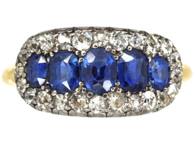 Victorian 18ct Gold Five Stone Sapphire & Diamond Ring