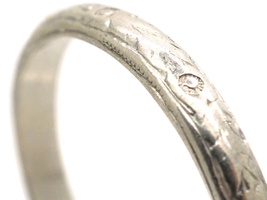Art Deco Platinum Wedding Band