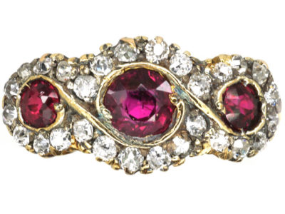 Edwardian 18ct Gold, Ruby & Diamond Triple Cluster Ring