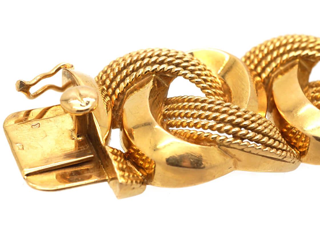 French 18ct Gold Interwoven Design Bracelet in Original Case