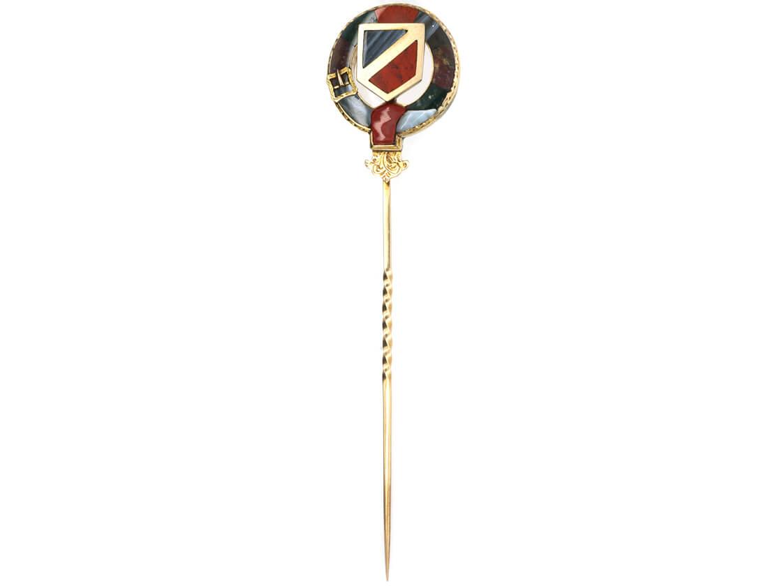 Scottish 15ct Gold, Bloodstone, Agate & Jasper Garter Tie Pin