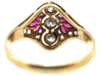 Art Deco 14ct Gold & Platinum, Ruby & Diamond Ring