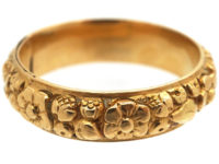 Georgian 18ct Gold Repoussé Band Ring with Hidden Locket Compartment