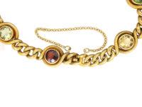 French 18ct Gold Belle Epoque Gem Set Curb Bracelet