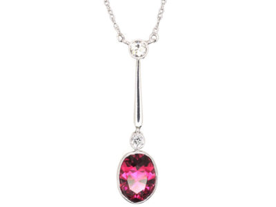 Art Deco Pink Tourmaline & Diamond Pendant on Chain