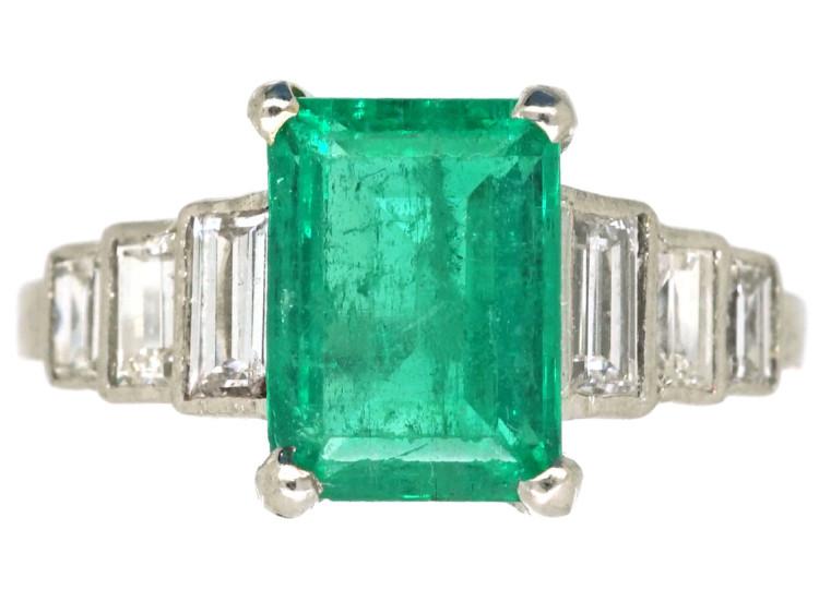 Art Deco 18ct White Gold, Emerald & Diamond Step Cut Ring