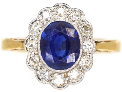 Edwardian 18ct Gold & Platinum, Sapphire & Diamond Oval Cluster Ring