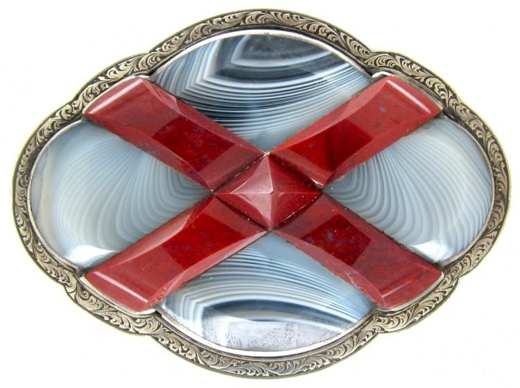 Victorian Scottish Silver, Jasper & Grey Agate Brooch