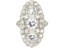 Art Deco Platinum Large Oval Diamond Cluster Ring