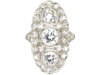 Art Deco Platinum Large Oval Diamond Cluster Ring