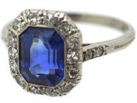 Art Deco Ceylon Sapphire & Diamond Platinum Octagonal Shaped Ring