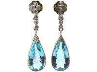 Edwardian 18ct White Gold, Aquamarine & Diamond Drop Earrings