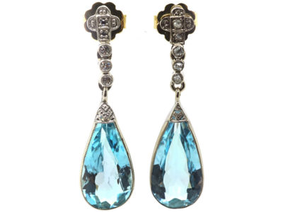 Edwardian 18ct White Gold, Aquamarine & Diamond Drop Earrings