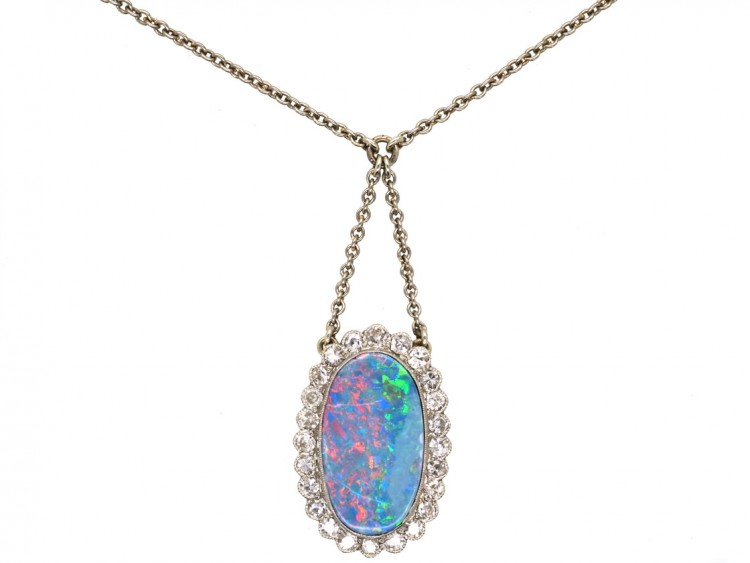 Edwardian Platinum Diamond & Opal Pendant on Platinum Chain