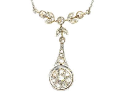 Edwardian 15ct Gold & Platinum Rose Diamond Pendant on Chain