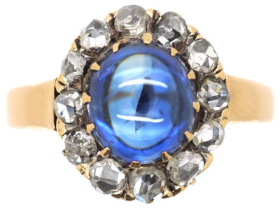 Edwardian 14ct Gold, Cabochon Sapphire & Rose Diamond Oval Cluster Ring