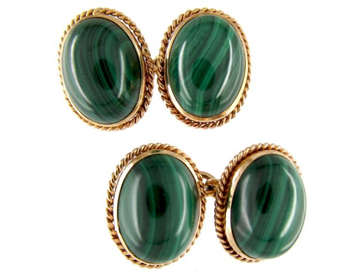 Gold & Malachite Oval Cufflinks