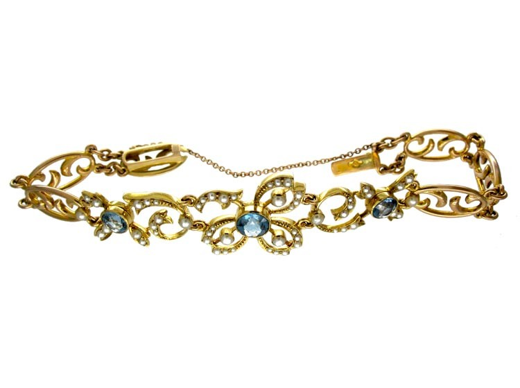 Edwardian 15ct Gold, Blue Zircon & Natural Split Pearl Bracelet
