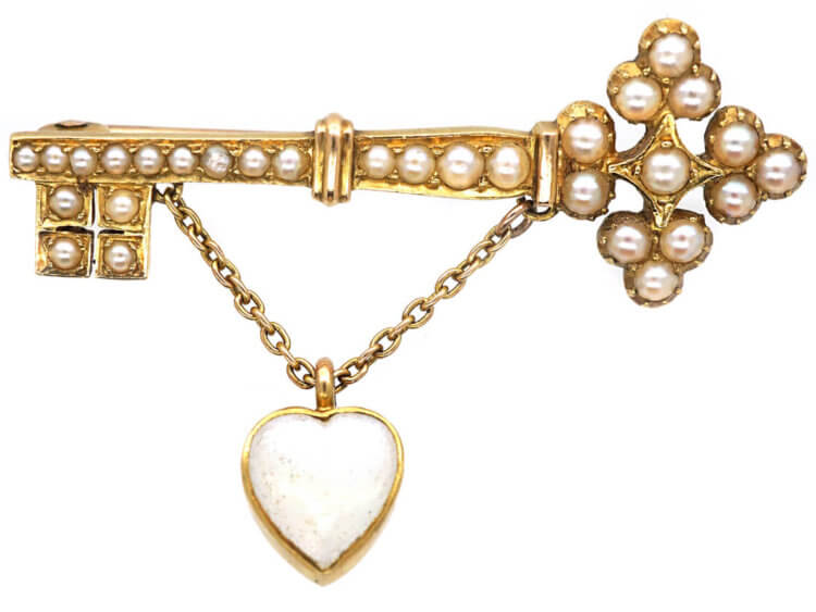 Edwardian Key to the Door 15ct Gold Brooch set with Natural Split Pearls with a Moonstone Heart Shaped Drop