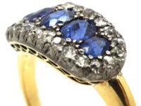 Victorian 18ct Gold Five Stone Sapphire & Diamond Ring