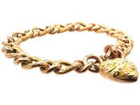 Edwardian 9ct Gold Curb Bracelet with Heart Shaped Padlock