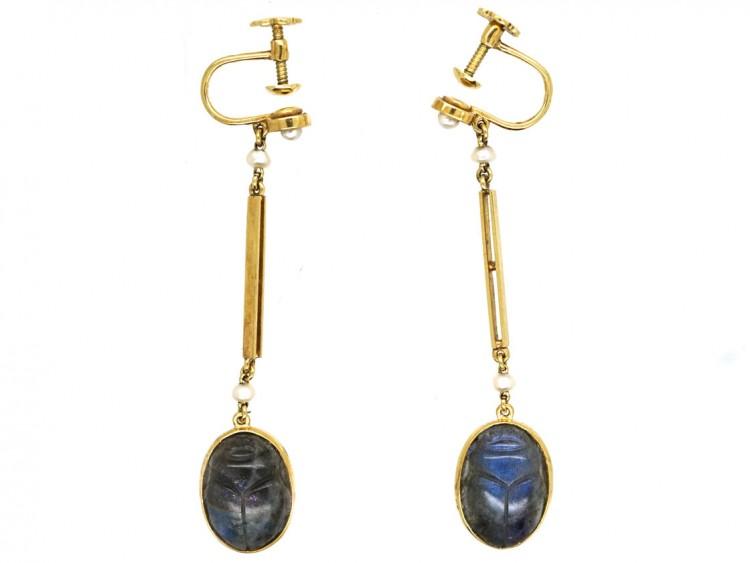 Art Deco 15ct Gold Egyptian Revival Labradorite Scarab Earrings