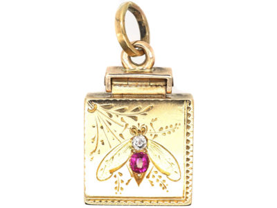 Edwardian 15ct Two Coloured Gold Locket with Bee