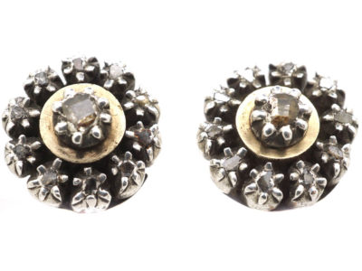 Georgian Round Silver & Gold Diamond Earrings