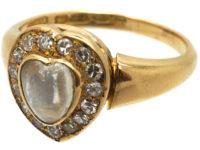 Edwardian 18ct Gold Moonstone & Diamond Heart Shaped Ring by Henry Barnett Joseph