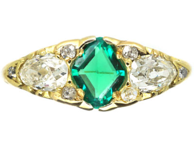 Victorian 18ct Gold Emerald & Diamond Three Stone Carved Half Hoop Ring
