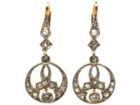 Edwardian 18ct Gold, Platinum & Diamond Drop Earrings