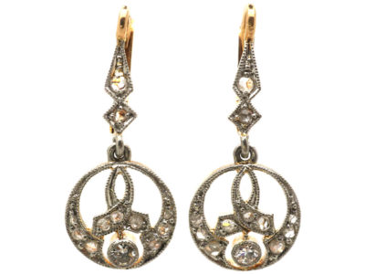 Edwardian 18ct Gold ,Platinum & Diamond Drop Earrings