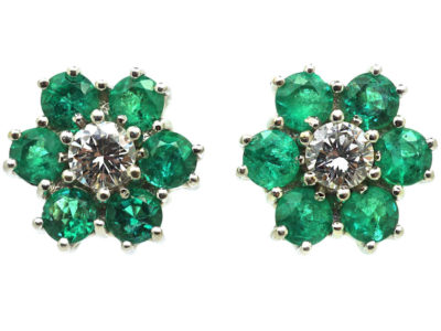 18ct White Gold, Emerald & Diamond Cluster Earrings