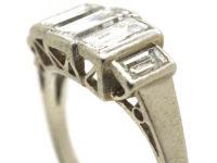 Art Deco Platinum & Five Stone Baguette Diamond Ring