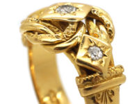 Victorian 18ct Gold Lover's Knot Ring set with Three Diamonds