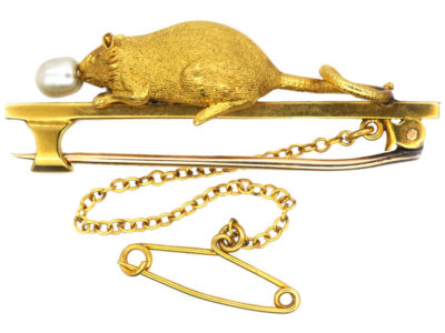 Edwardian 15ct Gold, Mouse & Pearl Brooch