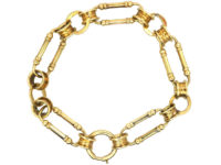 Victorian 18ct Gold Wide Link & Circle Bracelet