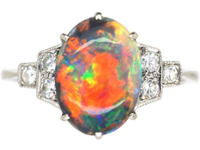 Art Deco Platinum, Black Opal & Diamond Ring